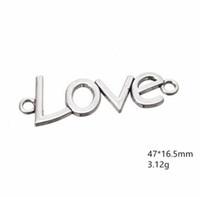 Geschnitzte Wort Liebe Silber Überzogene Buchstaben Nachricht Charme Fit Für Halskette Armband DIY Handgemachte Schmuck Andere individuelle Schmucksachen