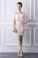 Pink Mother Of The Groom Dresses With Wraps High Neck Lace F...