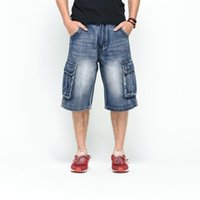 2018 Men Plus Size Loose Baggy Short Jeans for Men Boy Hip H...