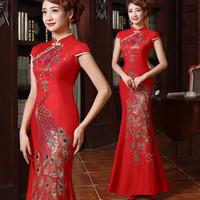 rouge qi pao et or mariée soie strass paon queue de poisson sirène cheongsam chinois traditionnel mariage robe longue robes qipao