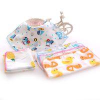 Toalha de algodão gaze quadrado bebê meninos impressos toalha de saliva dupla gaze fina pequena lenço lenço lenço