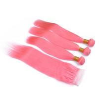 Recto sedoso de color rosa cabello humano teje brasileño con ofertas 4x4 Cierre de encaje rosa pura humano de la Virgen paquetes de pelo con cierre superior