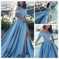 New Sexy Prom Dresses Sky Blue A Line Off The Shoulder Eveni...