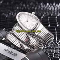 LuxRy Serpenti Tubogas 101911 SP35C6SS.2T Quadrante bianco Dial Swiss Quartz Womens Guarda Braccialetto in acciaio inox Case Braccialetto Fashion Lady Designer orologi