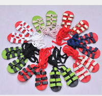 Baby Girls Flat Heels Lace- up Leather Sandal Infants Roman S...