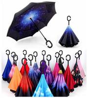 61 Farben Kreative invertierte Regenschirme Vollfarbiger Doppelschicht-Regenschirm mit C-Griff nach innen und umgekehrt Winddicht