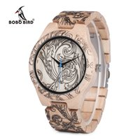 BOBO BIRD WO07 Pine Wooden Quartz Watches for Men UV Printin...