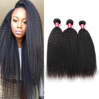 Яки прямые 8а Майк Бразильские девственные пакеты волос 3 пакета AFRO Kinky прямой монгольский перуанский перуанский необработанный REMY