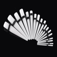 들것 귀걸이 피어 싱 패션 귀걸이 테이퍼 플러그 터널 스트레칭 화이트 아크릴 1.6-10mm