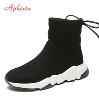 Shoes Women Height Increasing Ankle Boots Pointed Toe Shoela...