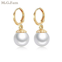 MGFam (428E) Smooth Pearl Drop Earrings Jewelry for Elegant ...