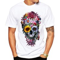 2018 NEW Summer Fashion Floral Skull Printed T- Shirt Short S...