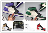 1s alto OG pinho verde Tribunal roxo 1 sombra azul lua basquete sapatos NRG ouro Toe Bg (Gs) raça toe jogo Royal calçados esportivos grátis shippment