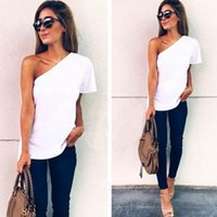 Fashion Womens Loose Short Casual Tops Blouse One Shoulder Blouses Ladies Sexy Shirt Size S-2xl
