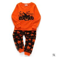 kids halloween pumpkin pajamas sets fall winter cotton long sleeve t shirtpants 2pcs pyjamas baby girl and boys sleepwear baby clothes