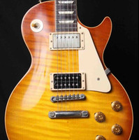 Personalizado 1959 R9 VOS Cereja SunBurst Jimmy Página No. 2 Guitarra Elétrica Tigre Flame Maple Top, Ponte Pin T Little Pro, Gold Grover Afinadores