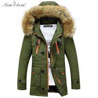 2016 Kurtki zimowe Męskie Grubość Ciepłe Fur Coat Slim Fit Bluzy Płaszcz Casual Parka Vest Homme Jaqueta Masculina