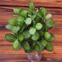 النباتات الاصطناعية الإبداعية ل مكتب تزيين المنزل محاكاة الأخضر ورقة البلاستيك زهرية النباتات بونساي الاستوائية وهمية عصاري 2 4ct ii