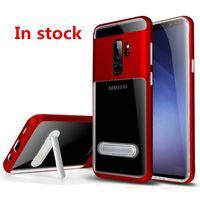 Hybrid Armor Clear Case Pour Samsung Galaxy S9 PLUS S9 + S8 PLUS Pour iphone X 8 PLUS Support de support pare-chocs Transparent Couverture C