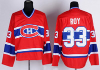 Vintage Patrick Roy Montreal Canadiens Jerseys da hockey 1893-1993 Coupé Stanley Cup Champions 100th 33 Patrick Roy Stitched Hockey Shirts