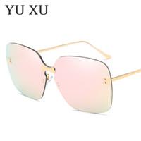يو شو جديد عصري الأزياء ساحة عدسة النظارات الشمسية النساء فرملس سيامي نظارات رجالي المعادن الساقين نظارات uv400 h117