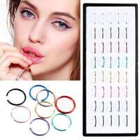 40 PCS / Set Sexy Falso Nariz Anel Círculo Clip On Nose Hoop Body Jewelry Não Penetrante Unisex Não Penetrante