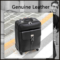 Men Business Genuine Leather Rolling Luggage Spinner Trolley...