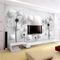 Dandelion wall covering minimalist modern 3d wallpaper living room bedroom TV backdrop wallpaper Continental Custom Murals