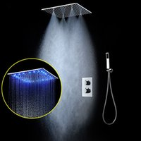 20 Inches Thermostatic Shower Set SUS304 Mirror Panel with L...