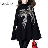En Yeni Moda Kadınlar Kaşmir Cloak Coat Kuş Desen Boncuk Ve Payetler Shwal Gevşek Yün Kadın Cape Bat Kollu Wrap