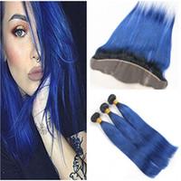 مستقيم # 1b / الأزرق أومبير العذراء الإنسان نسج الشعر حزم مع الأزرق الداكن الجذور الداكنة أومبير ينسج الشعر مع الدانتيل أمامي إغلاق 13x4