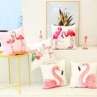 Bird Flamingo Pillow Case Cushion cover Linen Cotton Throw P...