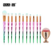 MAANGE 12PCS Diamond Handle Makeup Brush y Mermaid Foundation Brush Set Make up Brushes Professional Foundation Blush Eyeshadow DHL
