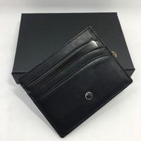 أسود جلد طبيعي حامل بطاقة الائتمان الكلاسيكية الفاخرة تصميم id بطاقة حالة محفظة رجال الأعمال رقيقة حاملي بطاقة محفظة عملة جيب