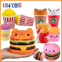 2018 Jumbo Squishy Toys Bambini Slow Rising Antistrss Toy Cat Hamburger Patatine fritte Popcorn Coffee Cup Squishies Sollievo dallo stress