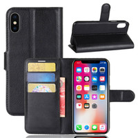 For iPhone X Litchi Leather Flip Case+ TPU Back Cover iPhone ...
