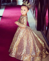2019 Gold Shining Sequins Princess Flower Girl Dresses First...