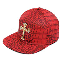 New Style PU Leather Jesus Crossing Baseball Caps Diamond Go...