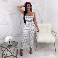 Plaid Summer Outfits para mujer Set de dos piezas Top y pantalones Sexy Matching Sets Moda chándal Bodycon Romper