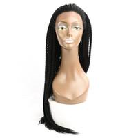 30 '' Box Braids Spitze Frontal Perücke Synthetische Häkeln BRIAIADS Einstellbare Größe African American Afro Flecht Haar Für schwarze Frauen