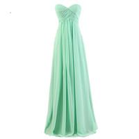 Robes de demoiselle d'honneur Discount Sweetheart sans manches une ligne menthe vert / rouge / organza / bleu marine / gris / corail mousseline robes de demoiselle d'honneur