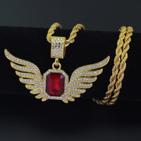 Hip Hop Angel Wings with Big Red Stone Pendant Necklace 4. 8*...