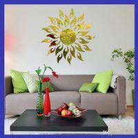 3d مرآة ملصقات الحائط الاكريليك عباد الشمس نمط خلفيات إثبات العفن ل ديكور المنزل المقرب صديقة للبيئة الأزياء 10rd ii