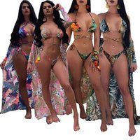 3PCS SET Beach Cover- Ups+ Bikini set 2018 Sexy Print Floral L...