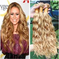 Acqua Wave Virgin brasiliano Miele Biondo Offerte di capelli umani Bundle 3 pezzi bagnato ed ondulato # 27 Fragola Biondo capelli umani tesse estensioni
