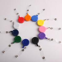 500pcs / lot OEM plástico logotipo da empresa personalizado titular carretel crachá retrátil com cinto de mosquetão yoyo ID PIN