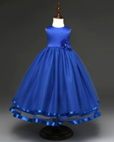 Beauty Royal Blue Pricess Wedding Flower Girls Dresses Organ...