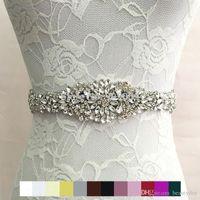 Cinturón de novia de lujo Fashion Rhinestone Adorno Vestido de novia Accesorios Cinturón 100% Hecho a mano 8 Colores Blanco Marfil Blush Blush Fichas nupciales