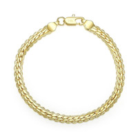 Wholesale Cheap 18K Real Gold Plated 5MM Snake Chain Bracele...