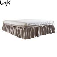 Urijk spedizione gratuita hotel elastico letto gonna 4 colori tessuto scamosciato per king / queen size polvere ruffle pastorale stile copriletto fit
